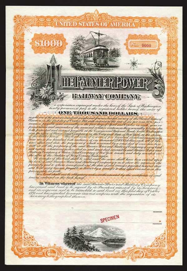 Rainier Power and Railway Co., Specimen Bond.