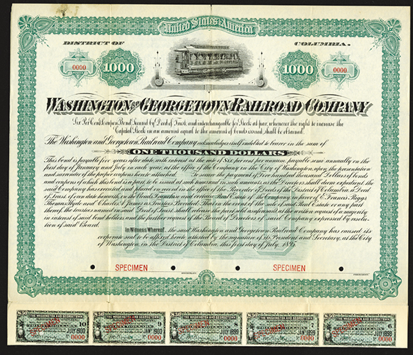 Washington and Georgetown Railroad Co., 1895 Specimen Bond.