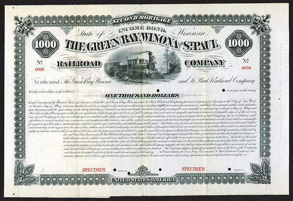 Green Bay, Winona and St. Paul Railroad Co., 1881 Specimen Bond