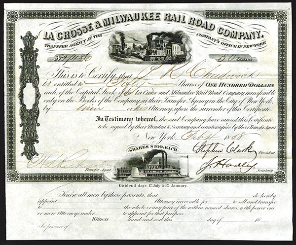 La Crosse & Milwaukee Rail Road Company, 1858 Issued Stock Certificate.