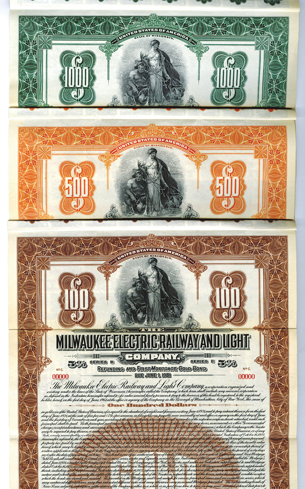 Milwaukee Electric Railway and Light Co., 1911, $1000 Specimen Bond Trio.