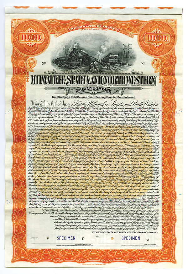 Milwaukee, Sparta and Northwestern Railway Co., 1912 Specimen Bond.