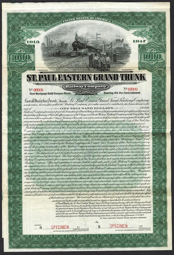 St. Paul Eastern Grand Trunk Railway Co. 1913 Specimen Bond