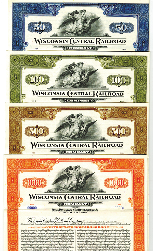 Wisconsin Central Railroad Co., 1954, Specimen Bond Quartet.