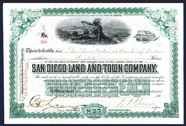 San Diego Land and Town Co., 1897 Issued Stock