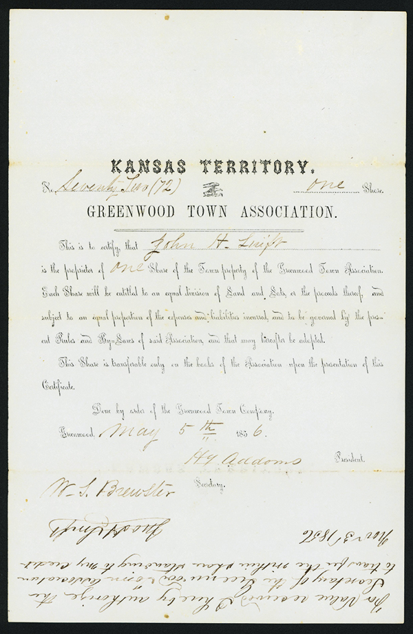 Share of Property in Greenwood Town, 1856 Stock Certificate.