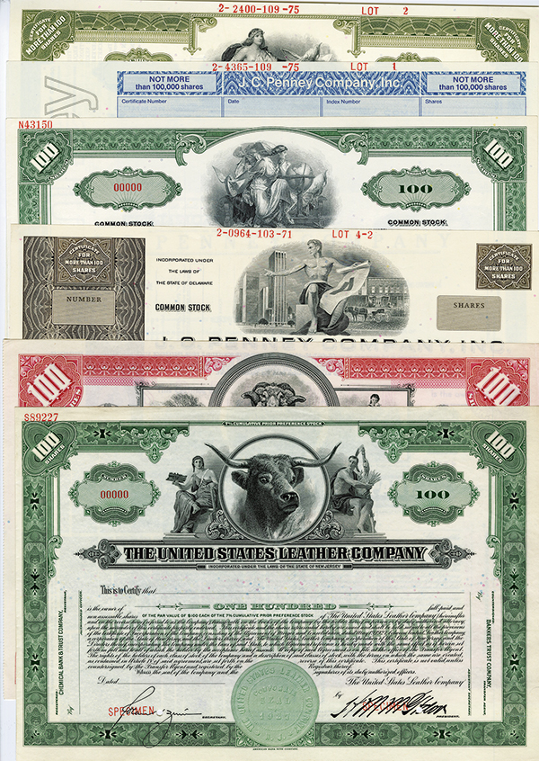 Retail Department Stores, Wool and Leather Company Specimen Stock Certificates, ca.1920-1970's.