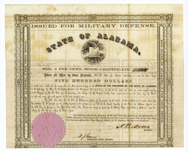 State of Alabama, Issued for Military Defense, 1861 Issued Bond