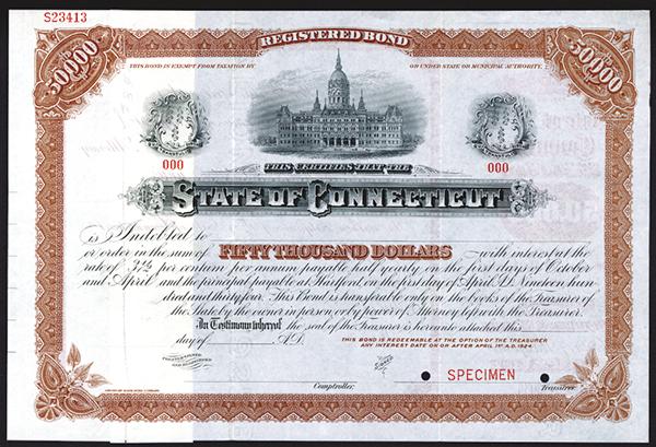 State of Connecticut, ca.1910 Specimen Bond