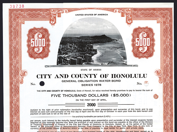 City and County of Honolulu, 1978 Specimen Bond.