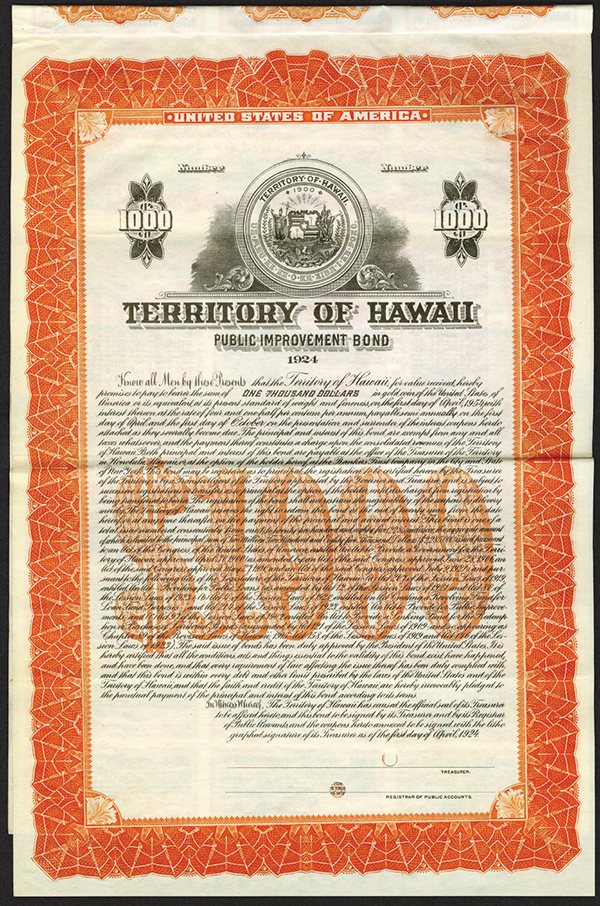 Territory of Hawaii Public 1924 Specimen Bond