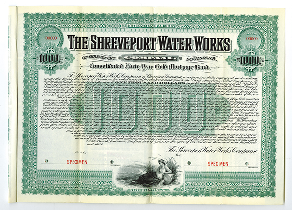 Shreveport Water Works Co. 1903 Specimen Bond.