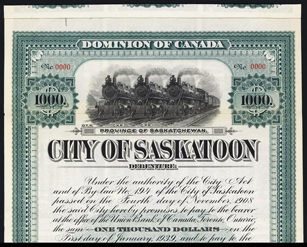 City of Saskatoon, 1909 Specimen Bond.
