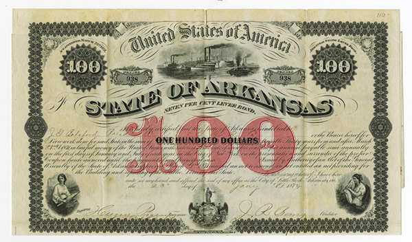State of Arkansas, 1871 Issued Bond.