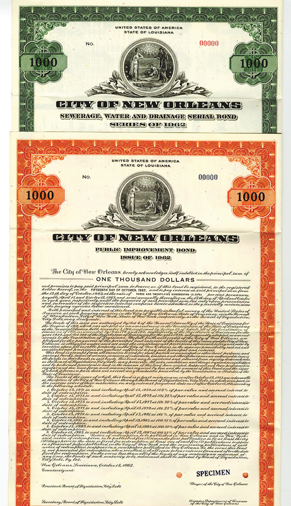 City of New Orleans, 1962 Specimen Bond Pair.