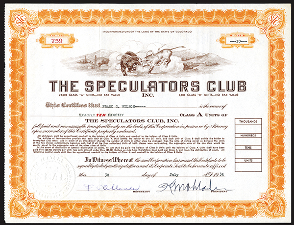 Speculators Club, 1936 Issued Stock