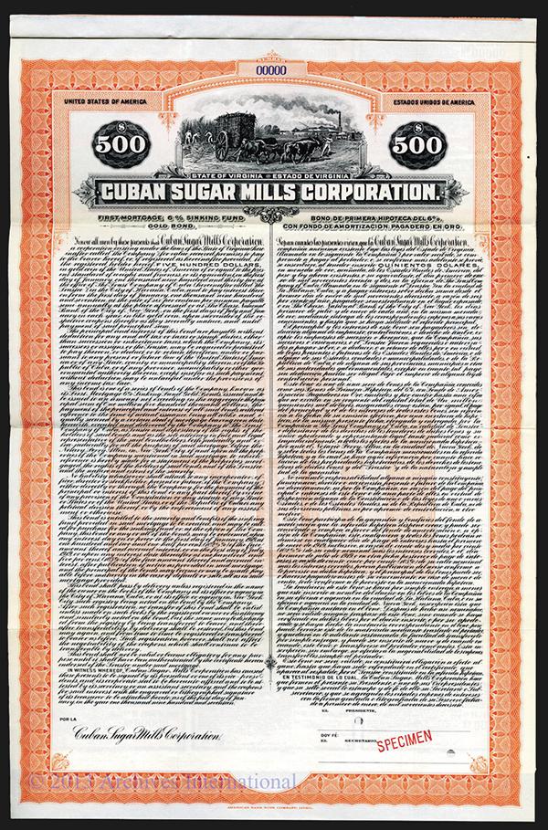 Cuban Sugar Mills Corp. Specimen Bond.