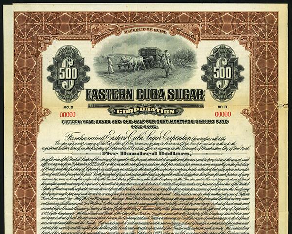 Eastern Cuba Sugar Corp., Specimen Bond.