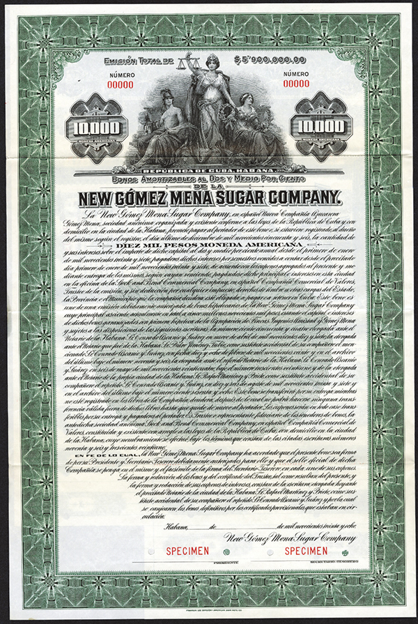 New Gomez Mena Sugar Co.,ca.1906 Specimen Bond