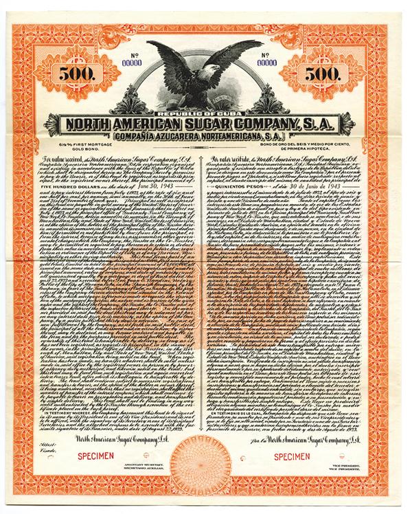 North American Sugar Co., 1923 Specimen Bond.