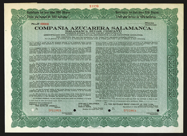 Salamanca Sugar Co., Specimen Stock.