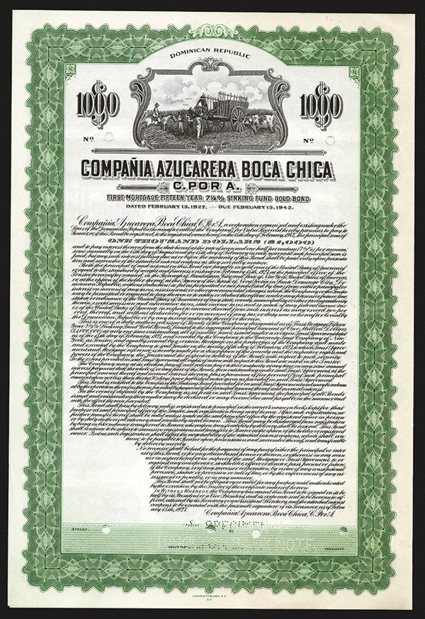 Compania Azucarera Boca Chica C. por A. 1927 Specimen Bond.