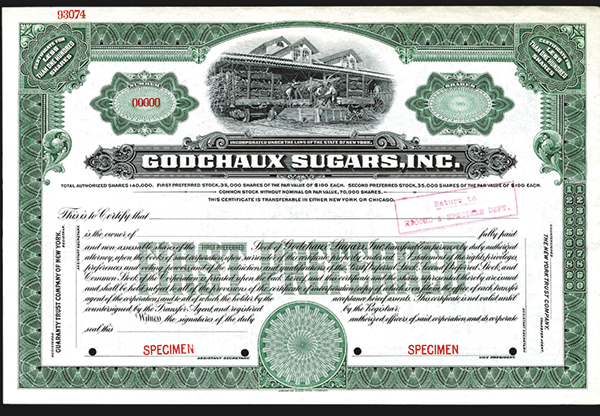 Godchaux Sugars, Inc., 1919 Specimen Stock