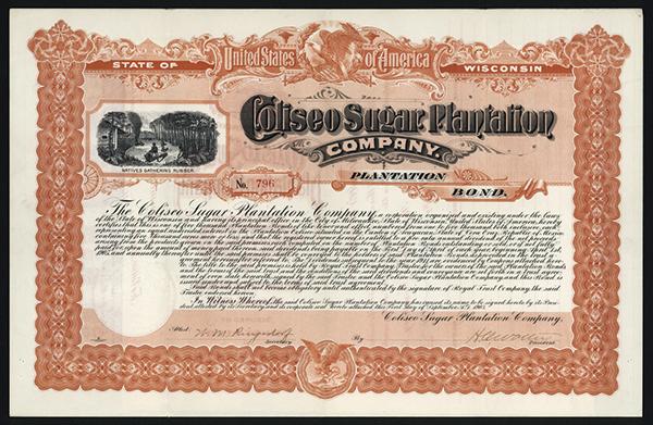 Coliseo Sugar Plantation Co. 1903 Issued Coupon Bond.