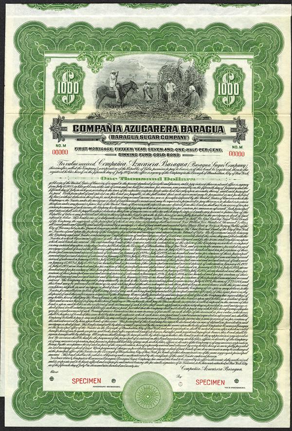 Compania Azucarera Baragua/Baragua Sugar Co. Bond