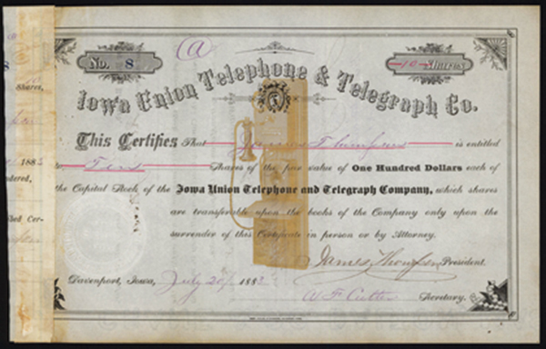 Iowa Union Telephone & Telegraph Co., 1883 Stock Certificate.