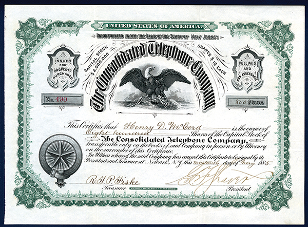 Consolidated Telephone Co., 1885 Issued Stock