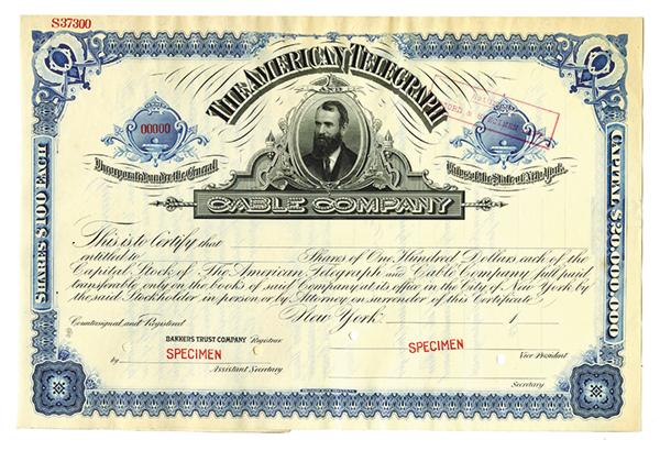 American Telegraph Cable Co., ca.1890's, Specimen Stock Certificate.