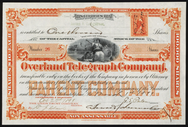 Overland Telegraph Company Stock Certificate.