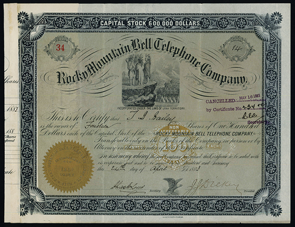 Rocky Mountain Bell Telephone Co., 1883 Issued Stock.