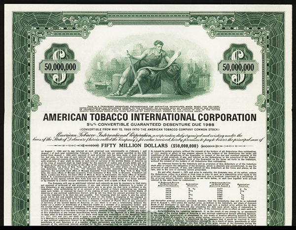 American Tobacco International Corp. 1968 Specimen Bond.