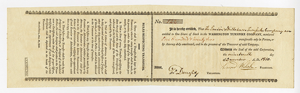 Washington Turnpike Co., 1810 Morristown, NJ Turnpike Stock.