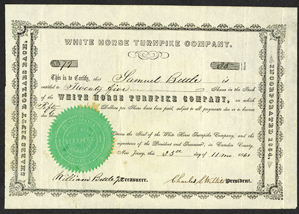 White Horse Turnpike Co., 1861 Stock Certificate.