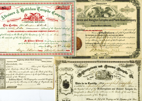 Pennsylvania Turnpike Stock Certificates, ca.1850-1890's Assortment.