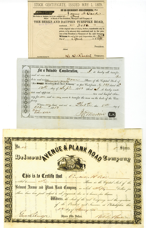 Pennsylvania Turnpike Stock Certificates, ca.1850-1890's Trio.