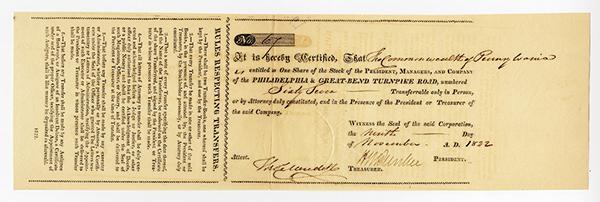 Philadelphia & Great-Bend Turnpike Road, 1822 Stock Certificate.