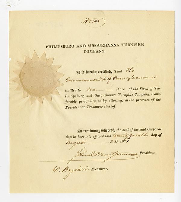 Philipsburg & Susquehana Turnpike Co., 1821 Stock Certificate.