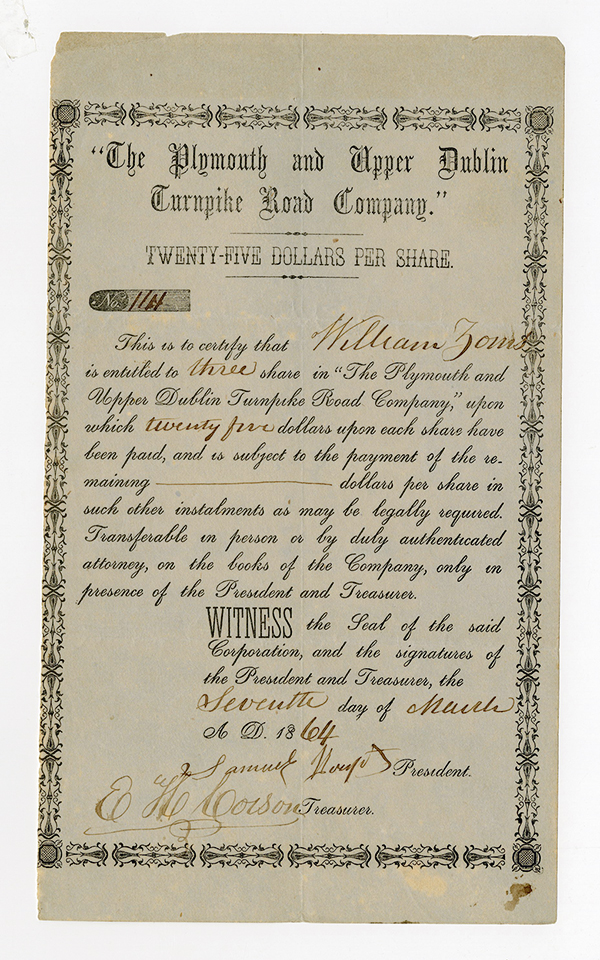 Plymouth and Upper Dublin Turnpike Road Co., 1864 Stock Certificate.