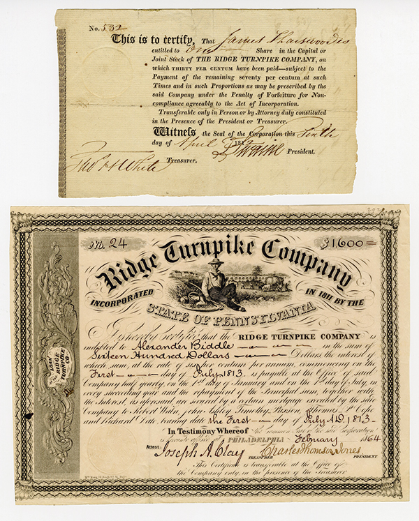 Ridge Turnpike Company, 1812 and 1864 Issued Stock and Bond Certificates.