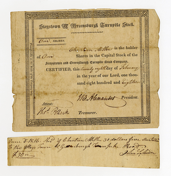Stoystown & Greensburgh Turnpike Stock, 1818 Stock Certificate.