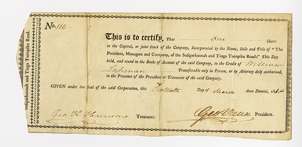 Susquehanna and Tioga Turnpike Road Co., 1818 Stock Certificate.