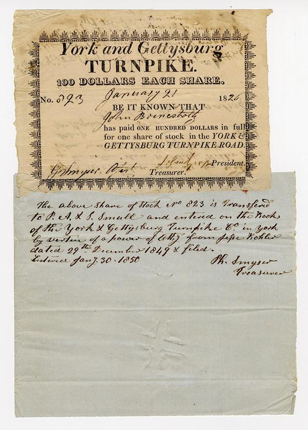 York and Gettysburg Turnpike, 1826 Stock Certificate.