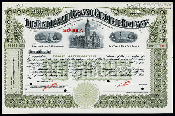 Cincinnati Gas and Electric Co., ca.1900-1910 Specimen Stock