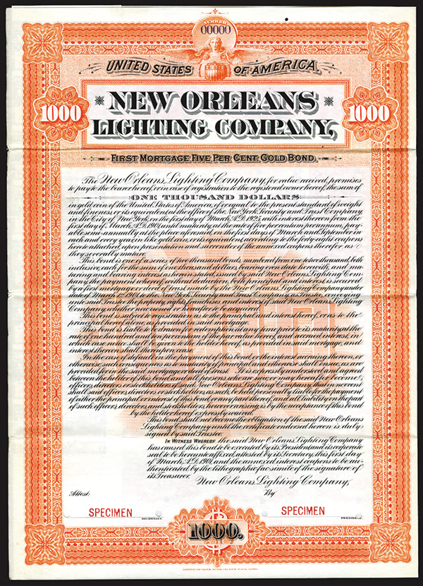 New Orleans Lighting Co. 1901. Specimen Bond.