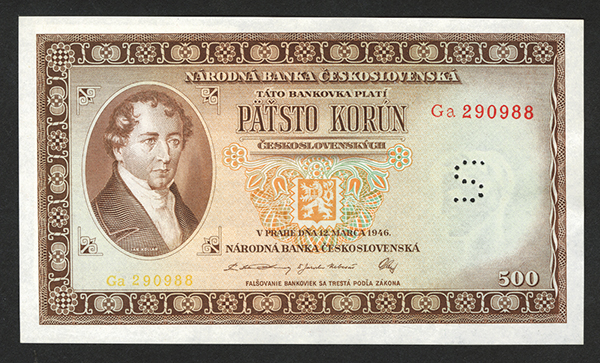 Narodni (A) Banka Ceskoslovenska 12.3.1946 Bank Note Issue