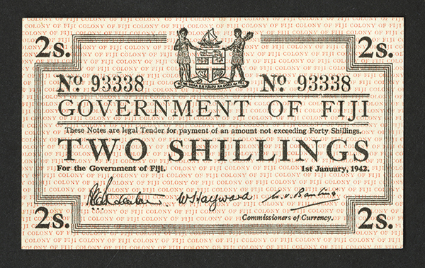 Government of Fiji, 1942, Issue Scrip Note.
